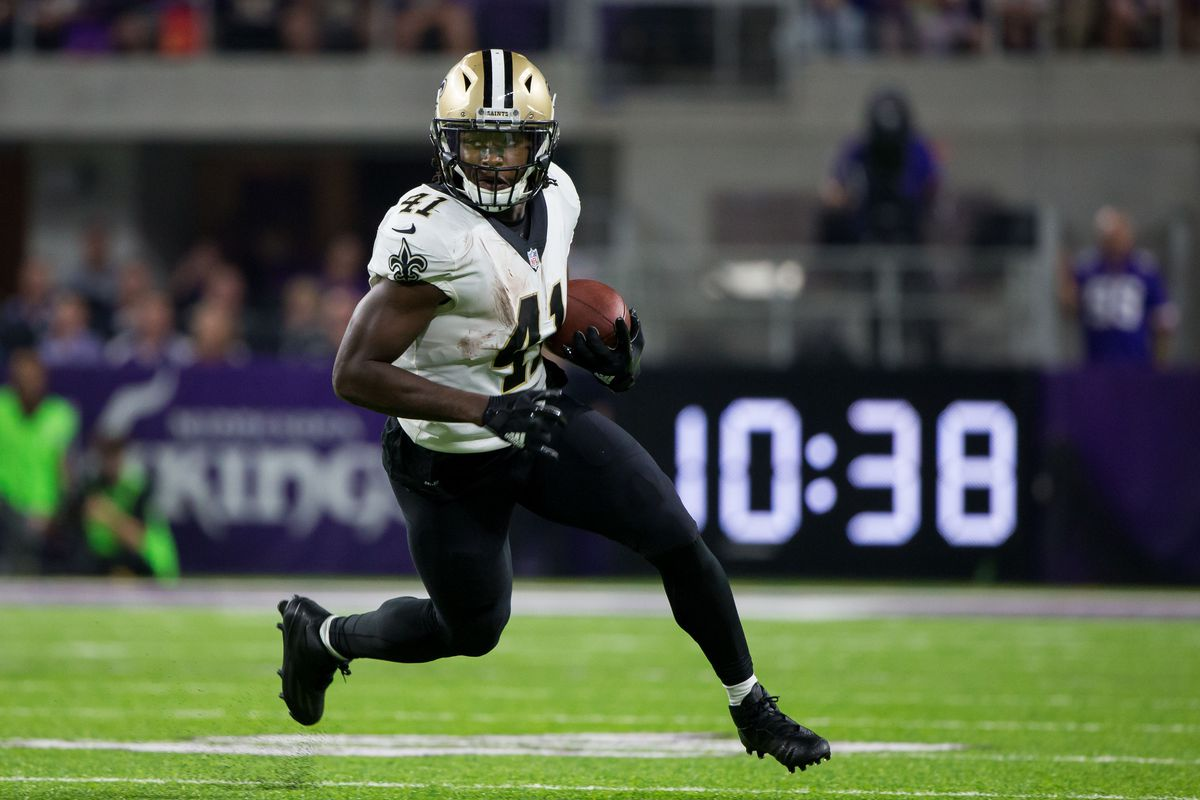 Alvin Kamara player profile featuring advanced fantasy football stats metrics amp analytics 40time speed score SPARQ breakout college dominator